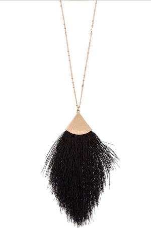Isabella Tassel Necklace in Black and Ivory