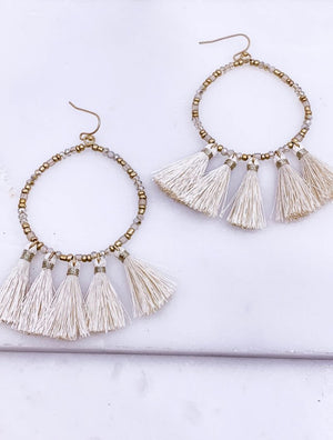 Vida Tassel Statement Earrings in Ivory and Blush