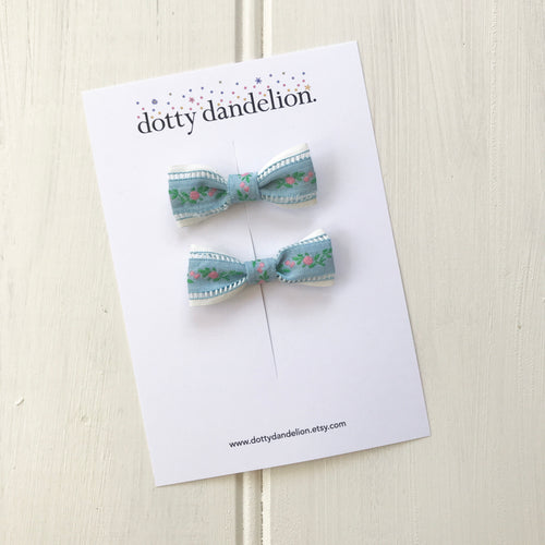 'Emily' Vintage Ribbon Pigtail Clips