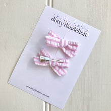 Pink Seersucker Stripe Pigtail Set - Choose Hair Ties or Clips