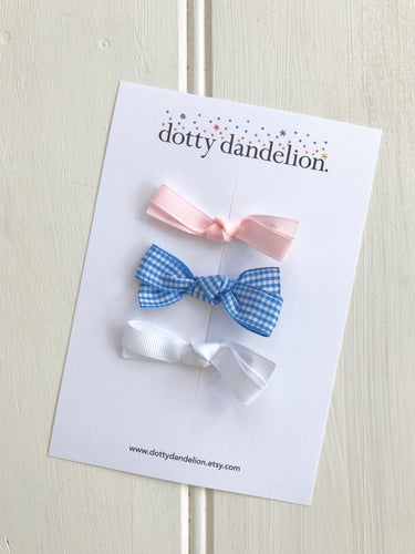 Ribbon Clip Set - Pink, Gingham and White