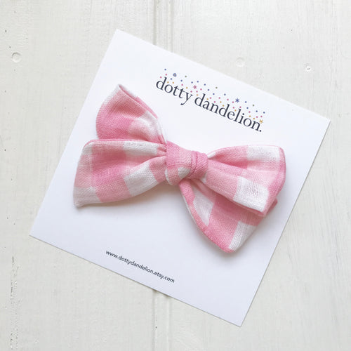 Pink Gingham Gauze Libby Bow