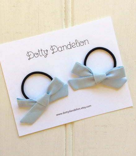 Pale Blue Pigtail Set - Clips or Hair Ties