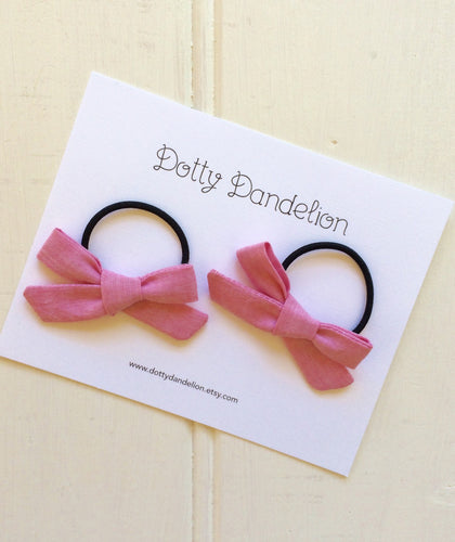 Winter Pink Pigtail Set - Choose Hair Ties or Clips