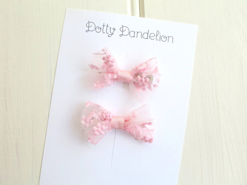 Pink Lace Pigtail Set Clips
