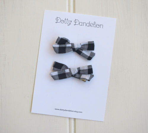Black and White Plaid Pigtail Set - Choose Hair Ties or Clips