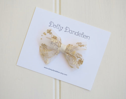 Gold Lace Bow Clip