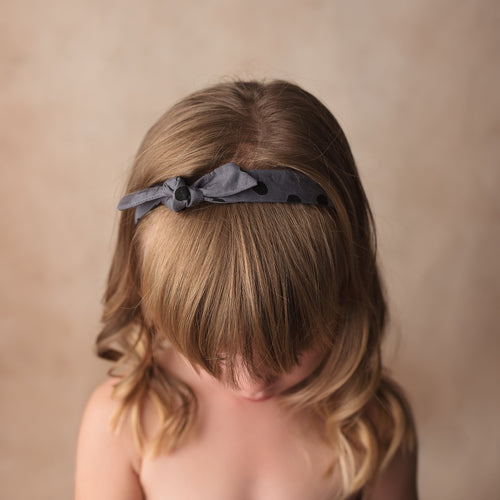 Grey Spot Knotted Headband
