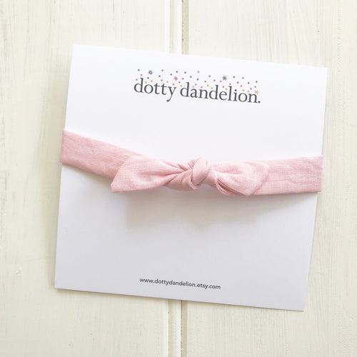 Pink Linen Knotted Headband