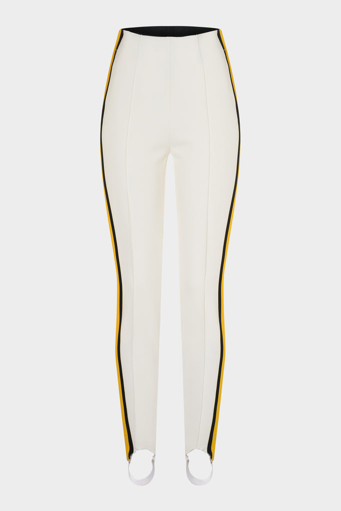 ELAINE in boots legging with yellow stripe - White