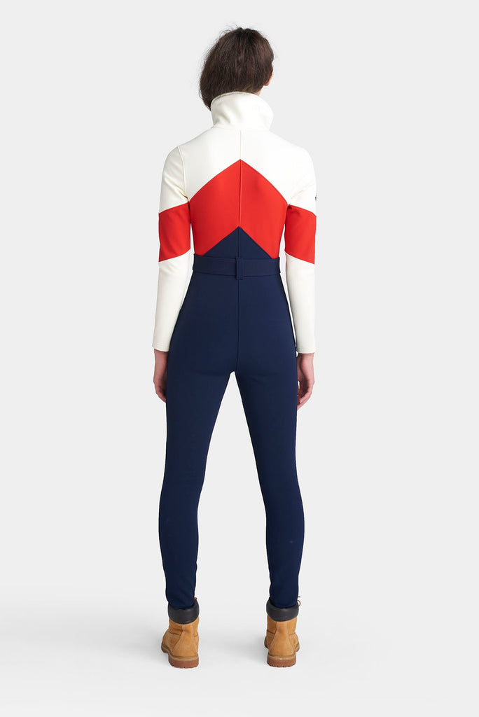 The Alta Ski Suit - Indigo/Fiery Red/Cloud