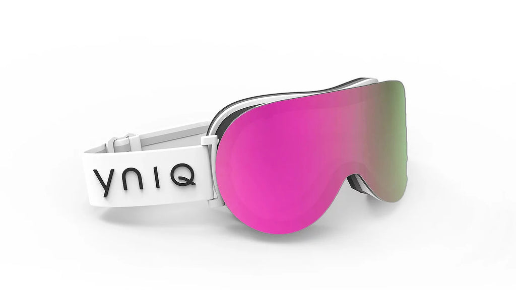 219 WHITE, PINK MIRROR LENSE GOGGLES - PINK