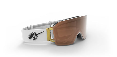 913 WHITE/GOLD BROWN MAGNETIC LENS OVERSIZE GOGGLES - WHITE