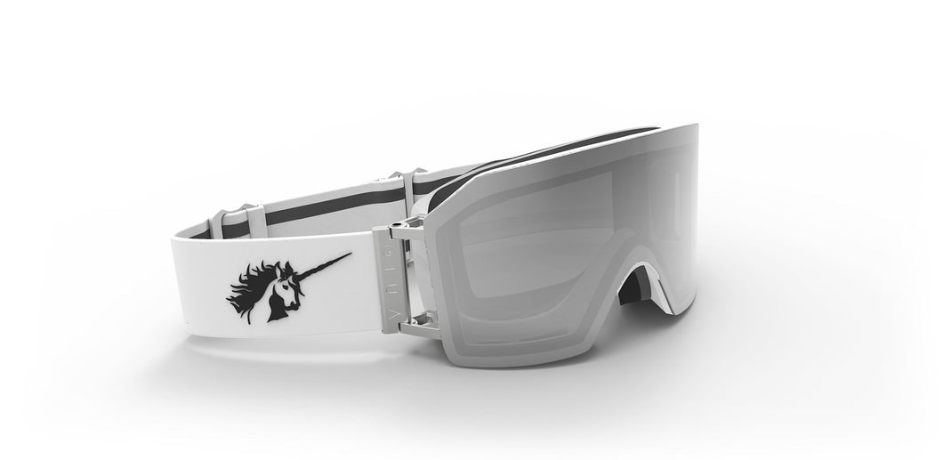 924 WHITE/SILVER SILVER MIRROR MAGNETIC LENS OVERSIZE GOGGLES - SILVER