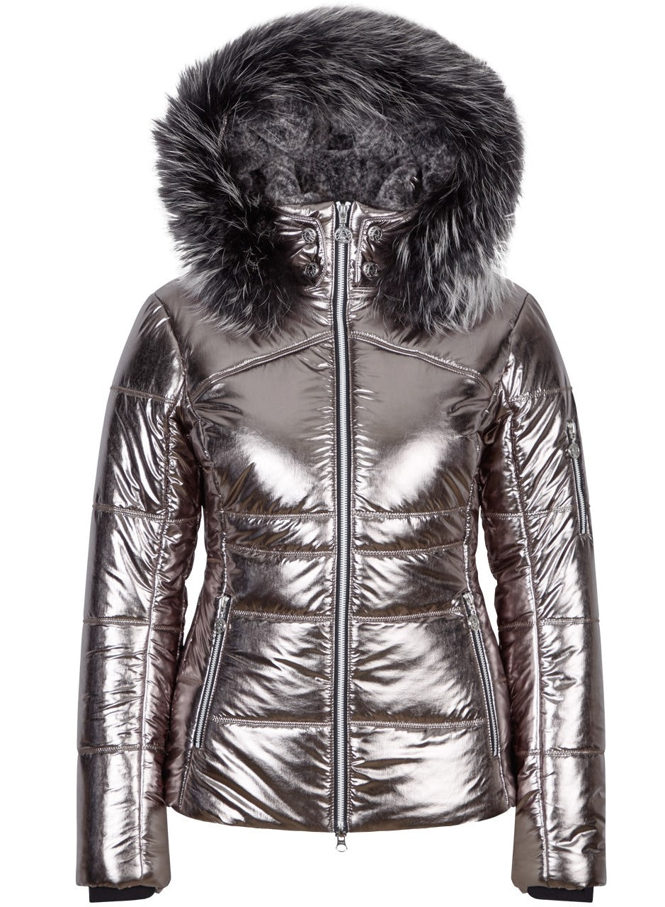 Akina m Kap + P Jacket with Fur Hood - Chateau Grey/Platinum