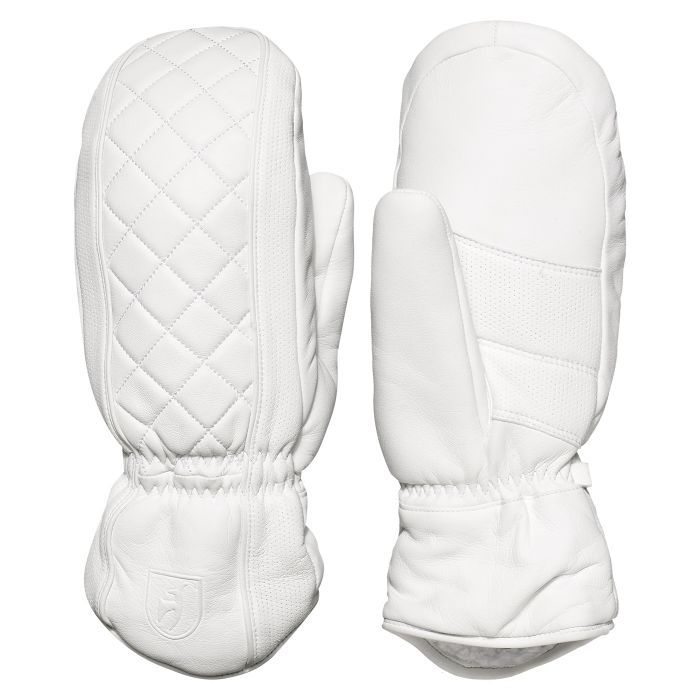 Lizzy Waterproof Lambskin Leather Mittens - Bright White