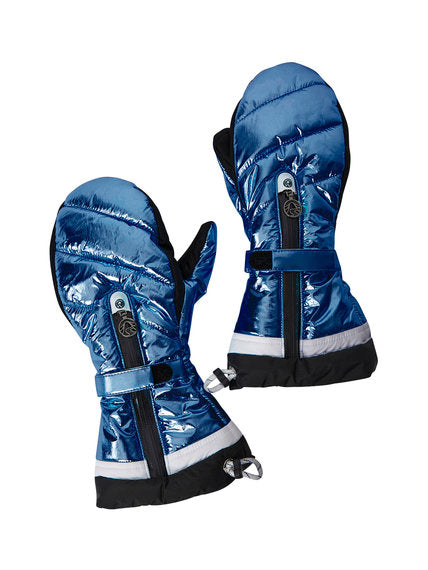 Ante Metallic Ski Mittens - Denim Dunkel / Dark Metallic Blue