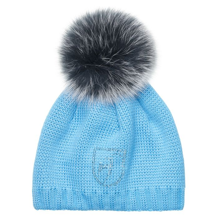 Beanie Fur Pom Pom Hat - Light Pacific