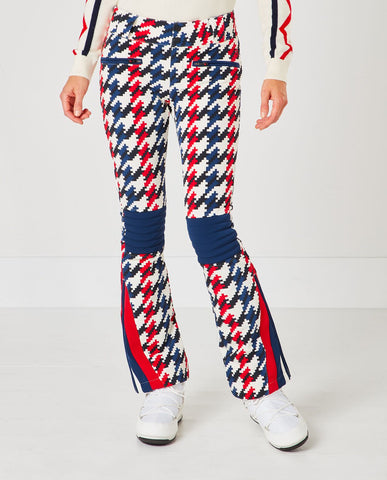 Chervon Flare Pants - Houndstooth Blue Red