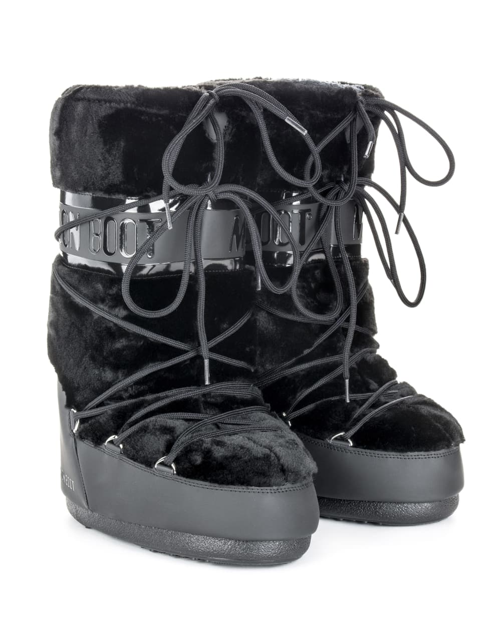 Moon Boot Classic Faux Fur - Black