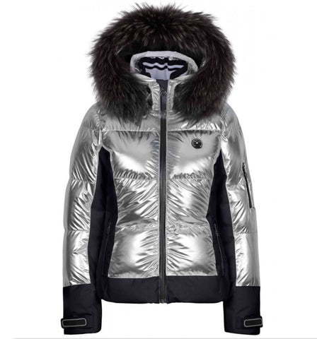 Cooris Metallic m Kap + P Mirror Ski Jacket with Fur Hood - Silver/ Black