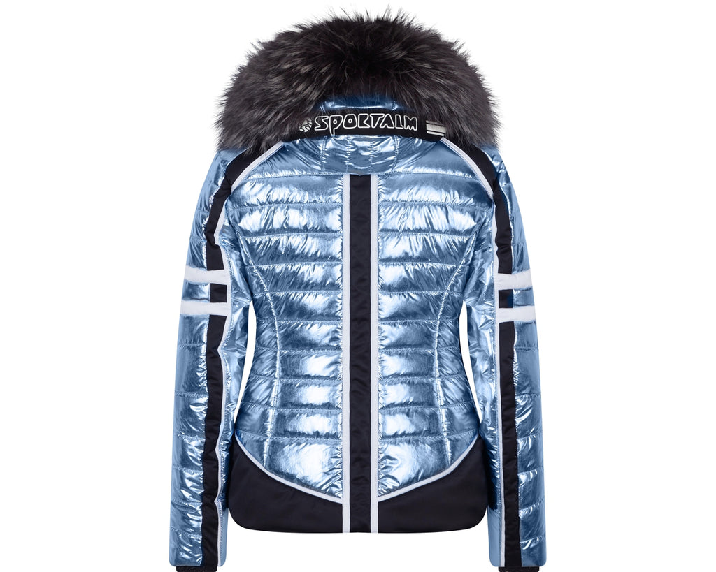 Crash M Kap +P Metallic Stripes Fur Hooded Jacket - Dream Blue