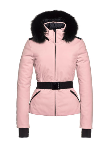 Hida Fur Hooded Belted Ski Jacket - Powder Pink
