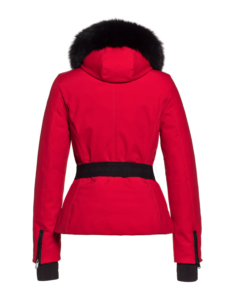 Hida Fur Hooded Belted Ski Jacket - Lava