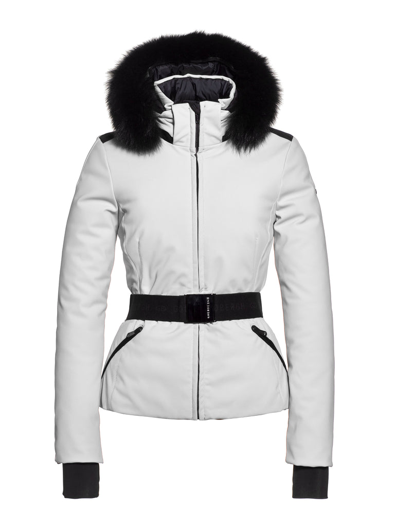 Hida Fur Hooded Belted Ski Jacket - White