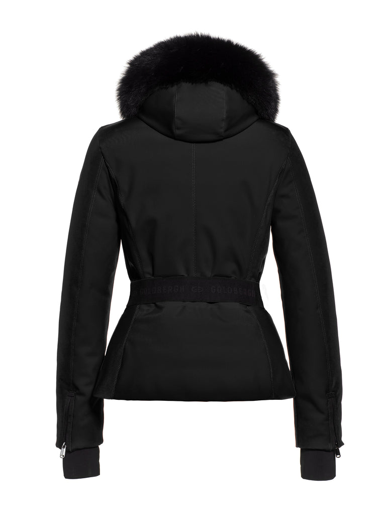 Hida Fur Hooded Belted Ski Jacket - Black