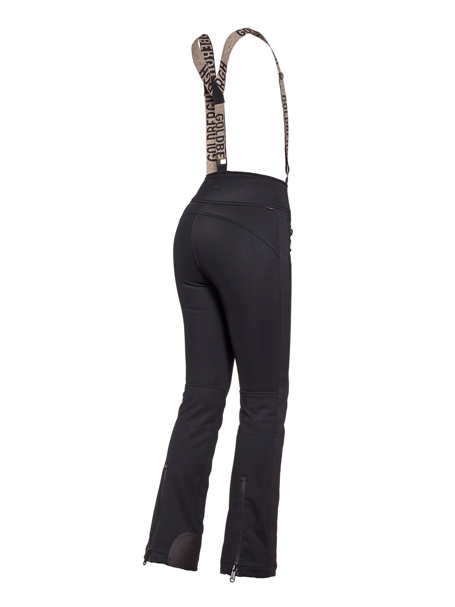 High End High Waisted Ski Pants with Suspenders - Black/ Gold