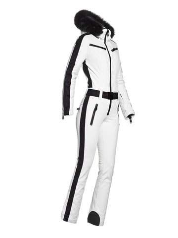 Empress Fur Hooded Ski Suit - White