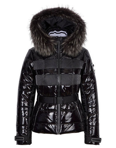 Juwel oG m Kap + P Patent Fur Hooded Jacket - Black