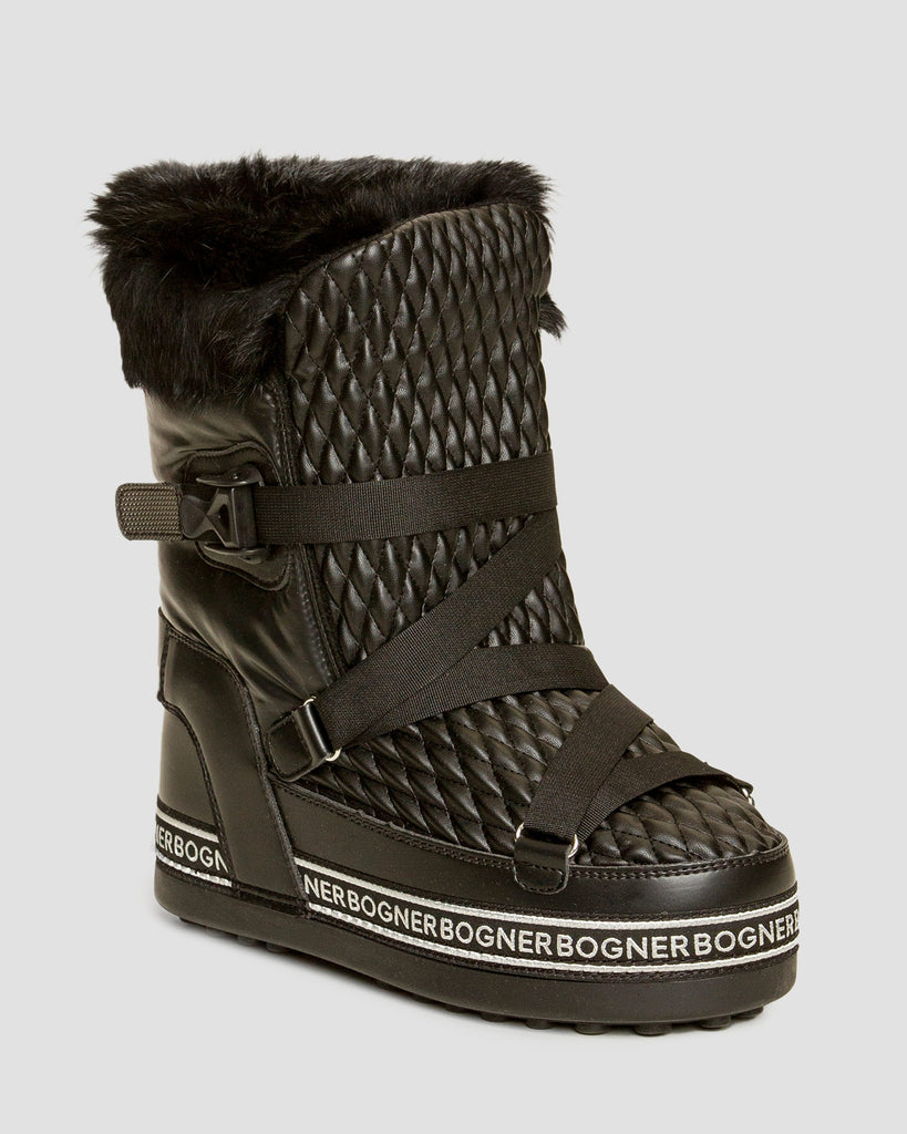 New Tignes 8 Zig Zag Strapped Fur Lined Boots - Black