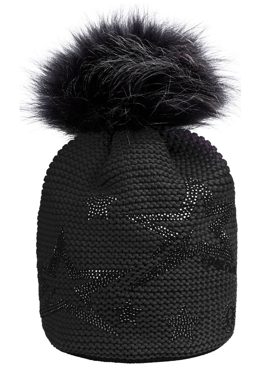 Starlight Beanie with Pom Pom - Black