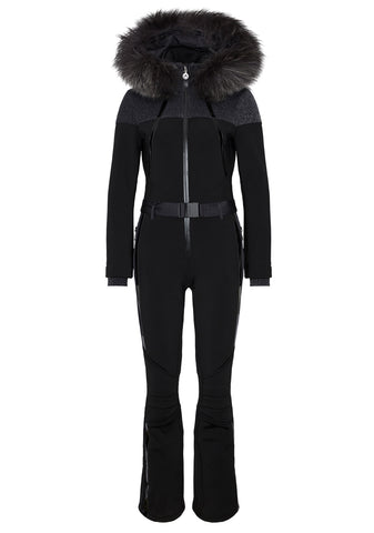 Xum m. Kap + P Metallic Ski Suit with Fur Hood - Black