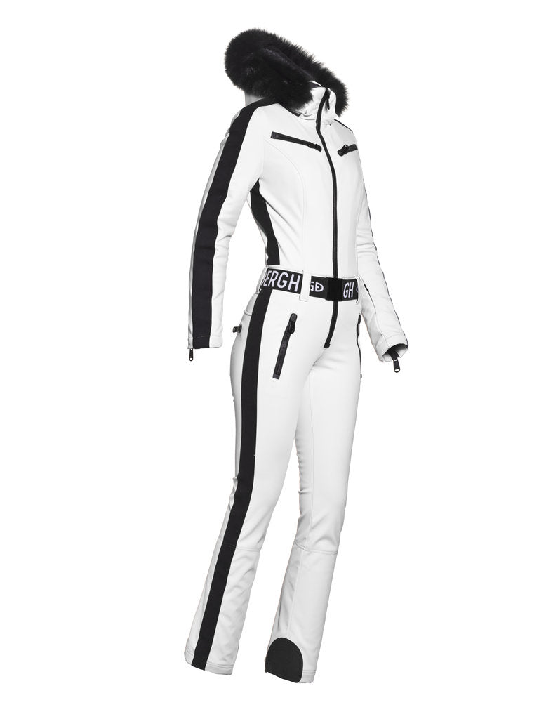 Empress Jumpsuit Real Fox Fur Ladies knitsted - White