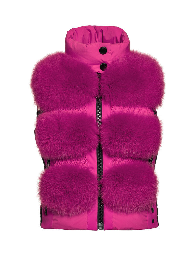 Foxy, Ladies Woven Bw Real Fox Fur - Pink