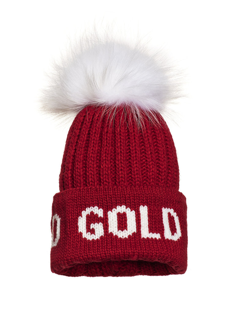 Hodd, knitsted hat Real Raccoon Fur - Red