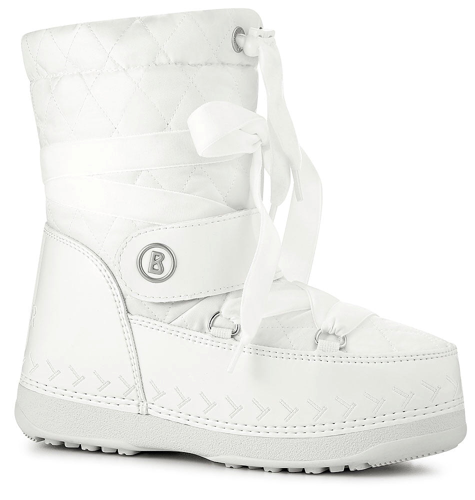 Sestriere Jr 1A Quitted Kids Boots - White