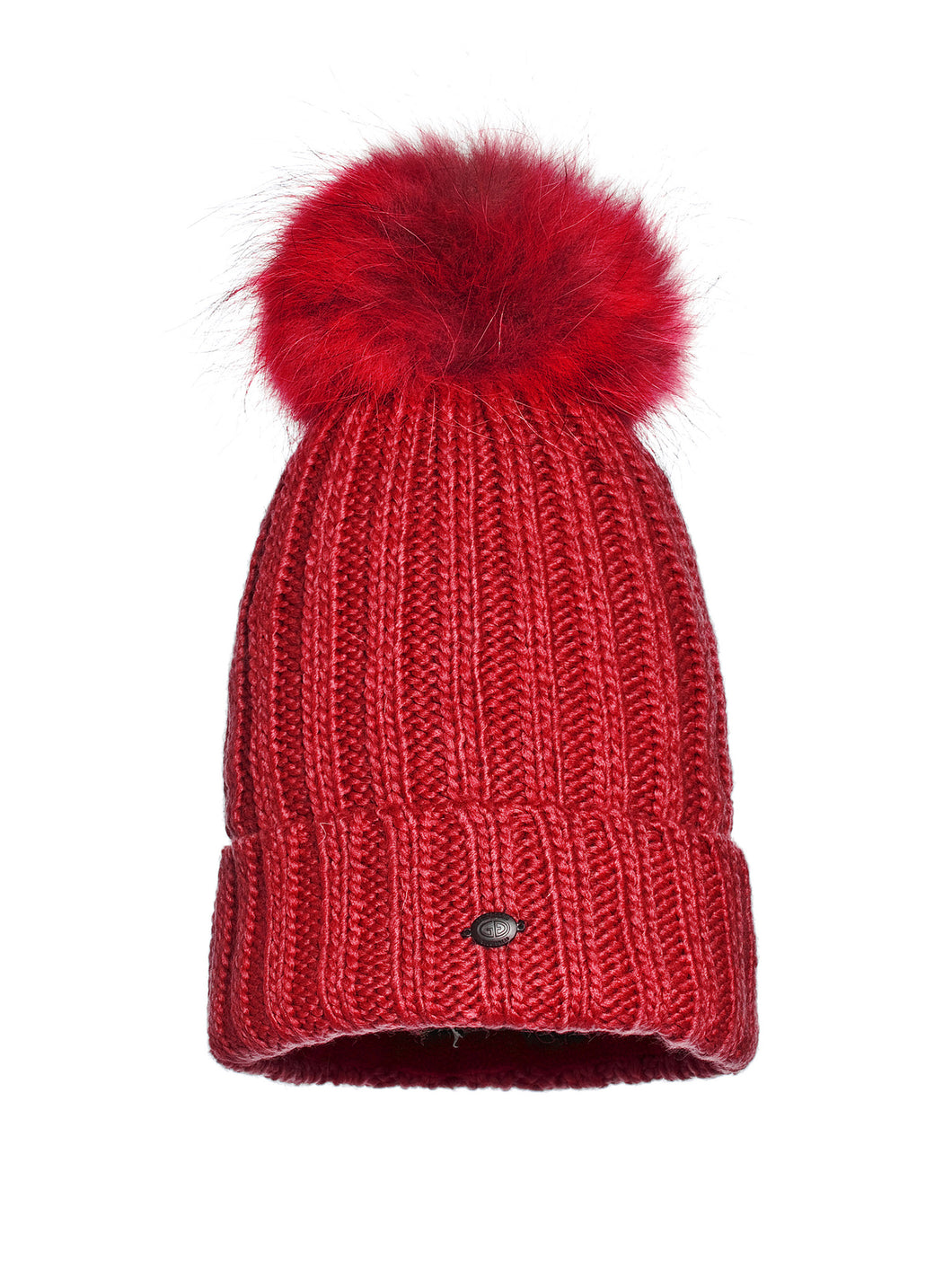 Una, knitsted hat Real Raccoon Fur - Red