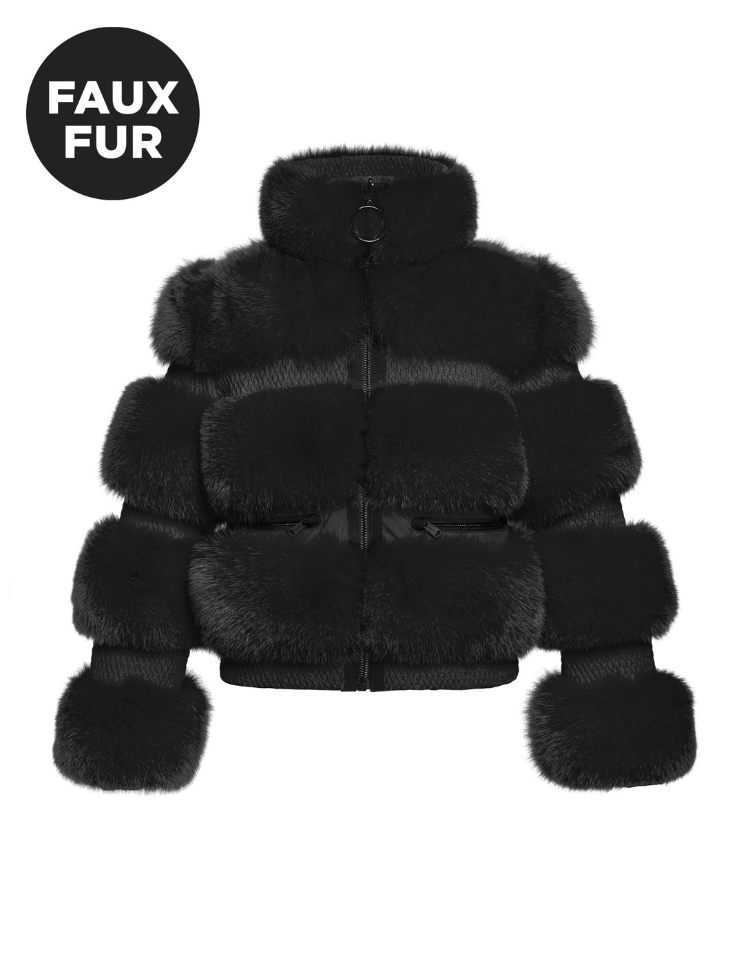 Paradiso, Ladies Woven Ski Jacket Faux Fur - BLACK