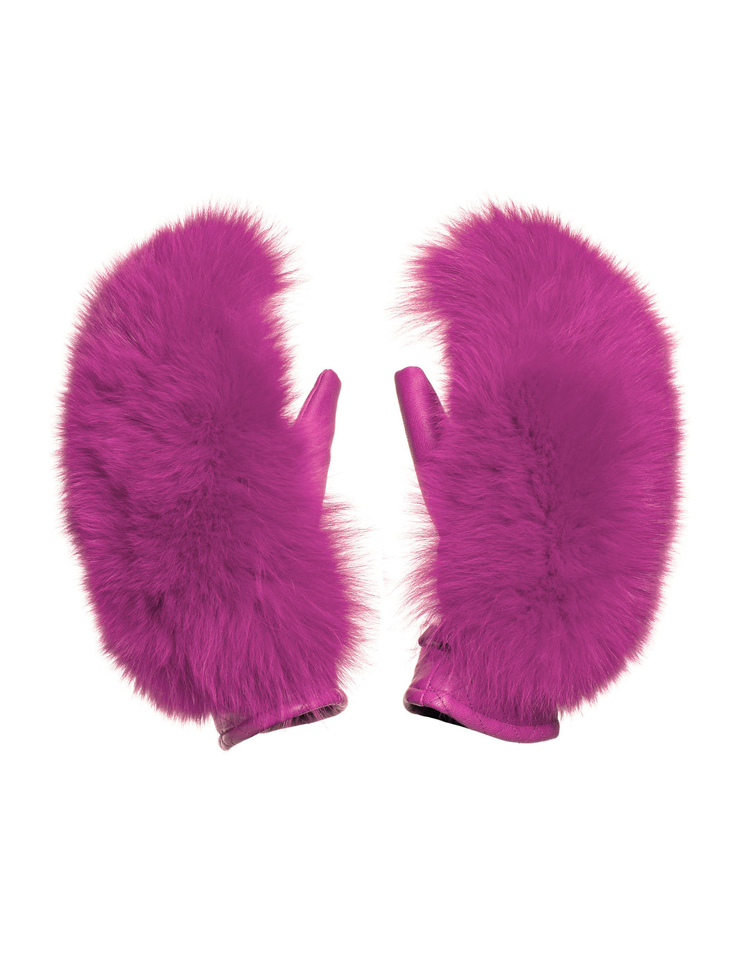 Hando Mittens Real Coyote + Real Fox Fur - Pink