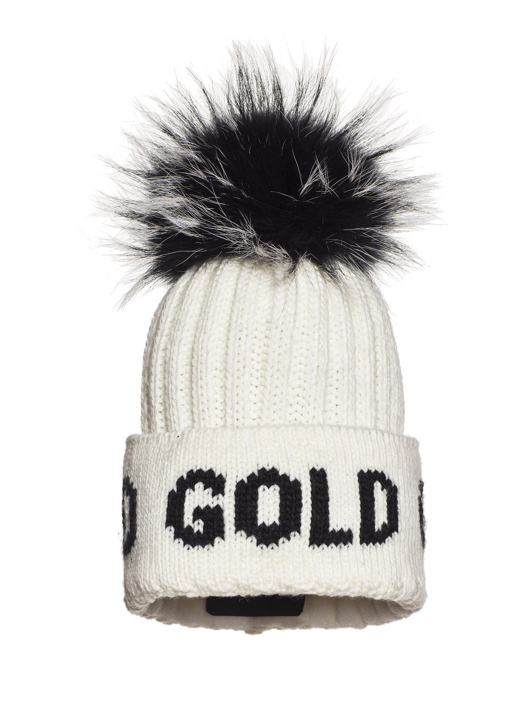 Hodd, knitsted hat Real Raccoon Fur - White