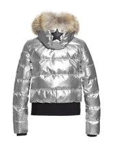 Load image into Gallery viewer, Aura Fur Metallic Bomber Ski Jacket – Silver