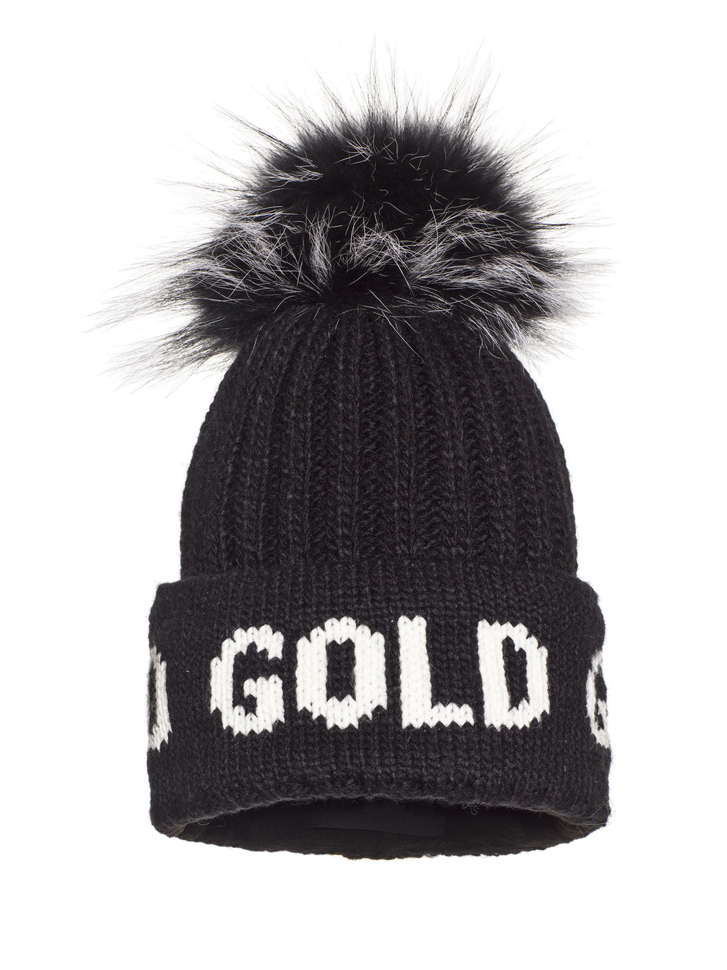 Hodd, knitsted hat Real Raccoon Fur - BLACK