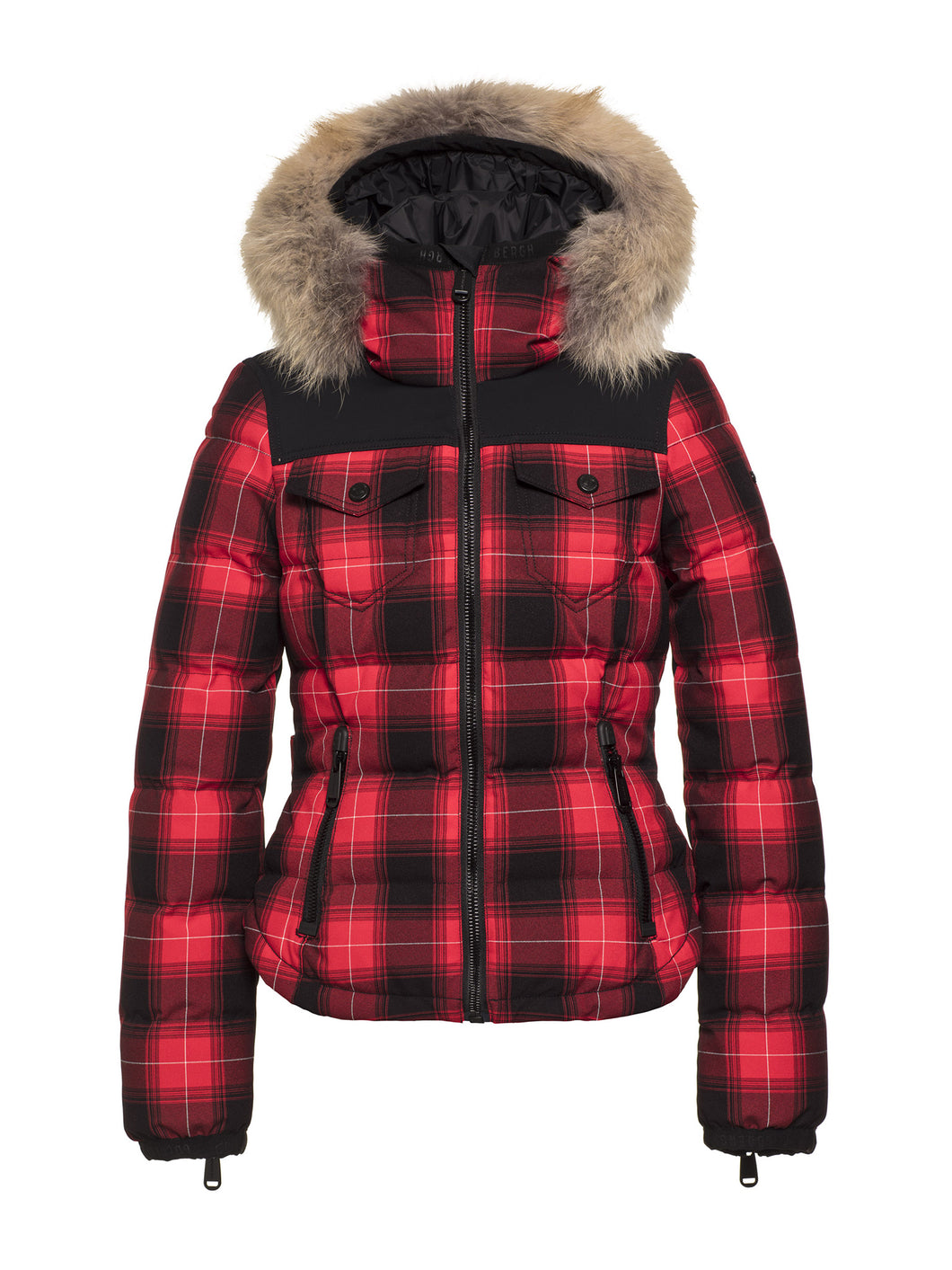 Trapper Ski Jacket Real Artic Raccoon Fur Ladies Woven - Multicolor