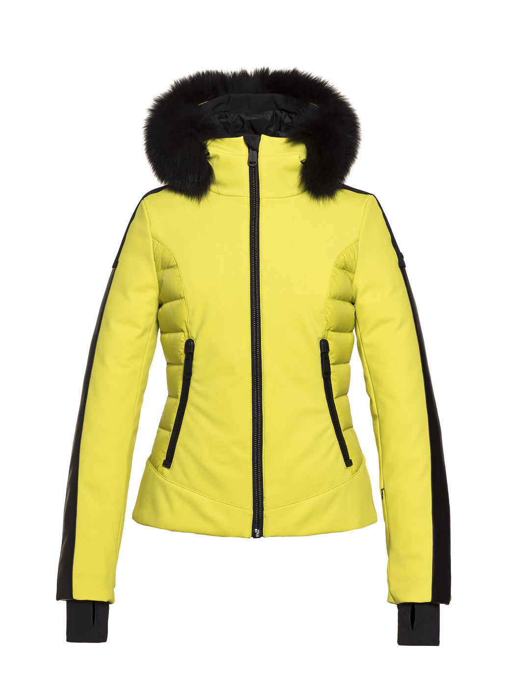 Kaja, Ladies knitsted Ski Jacket Real Fox Fur - Yellow