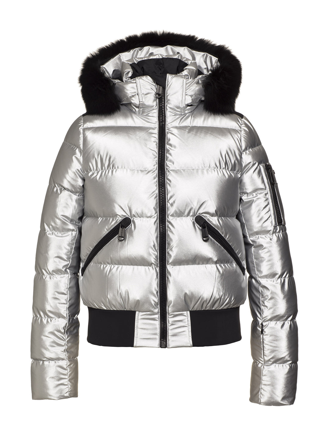 Aura Ski Jacket Real Fox Fur Ladies Woven - SILVER
