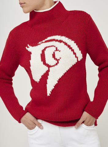 Sassy Horse Print Cashmere Turtle Neck Jumper - Red